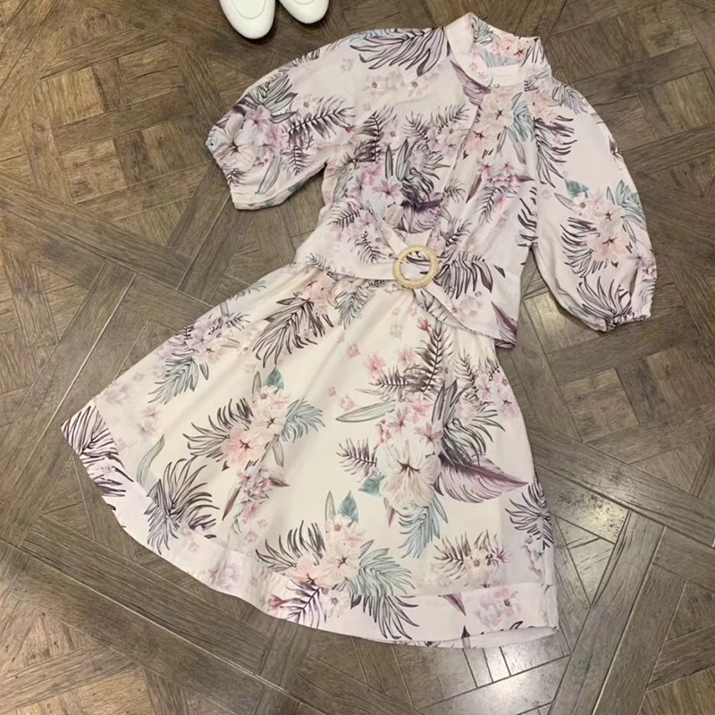 Robes en lin nouvelle robe de mode 2019 avec des ceintures robe Midi florale pour les femmes robe Slim robe mi-longue a-ligne avec col rond