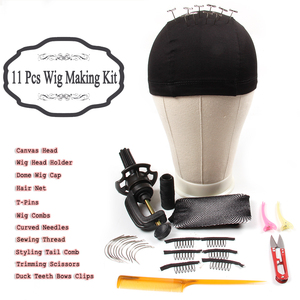 """Image 4 - AliLeader 21"""" 25"""" Professional Canvas Block Mannequin Head Stand Wig Cap For Wig Making Kit Tools Holder Hair Net T Pins Comb"""