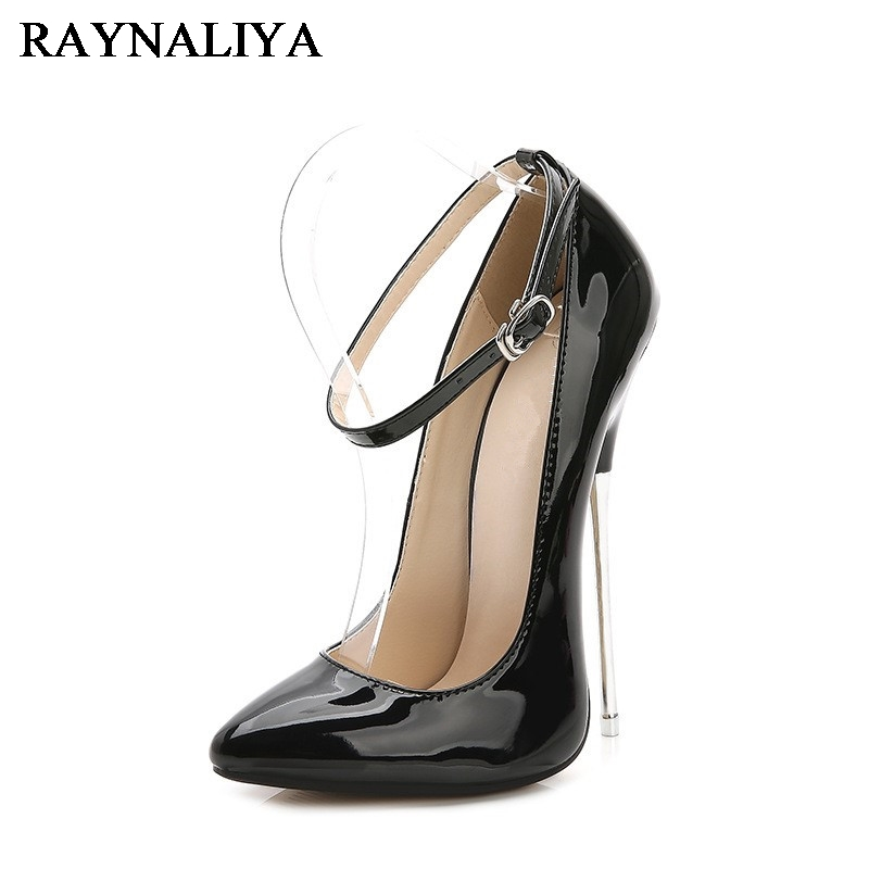 Pointed Toe High Heels 16cm Stilettos Sexy Extreme Patent Leather Black Shoes Pumps Big Size 35-44 Formal  Dress Shoes WZ-B0028 onlymaker women patent suede 12cm 4 7 inches thin high heel stilettos pointed toe plus big size 15 dress comfortable pumps shoes