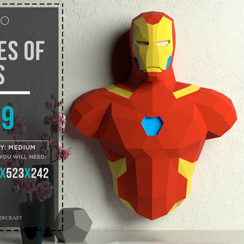 3D Paper Model Super Hero Ironman Papercraft Home Decor Wall Decoration Puzzles Educational DIY Kids Toys Birthday Gift 881