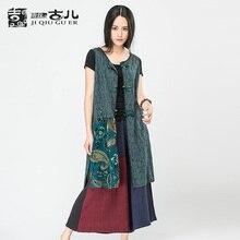 Jiqiuguer Brand Women's Sleeveless Early Autumn Vests V-neck medium-long Appliques Vests Cotton Linen Vest coat G162Y043