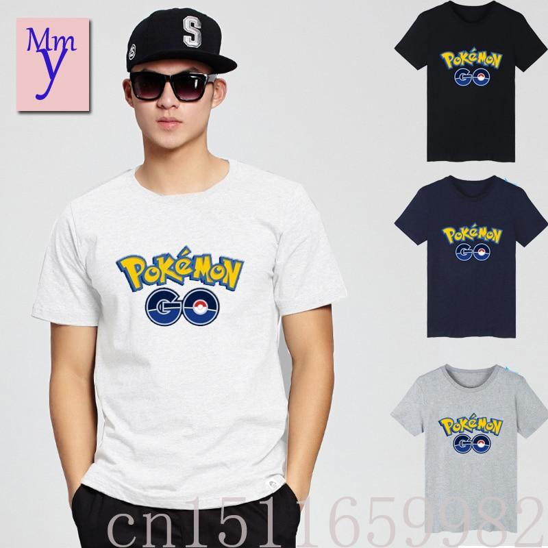 2016New Pokemon Go anime cosplay T-shirt cotton cartoon game fans gifs pokemon Print summer men women Short Casual Free shipping