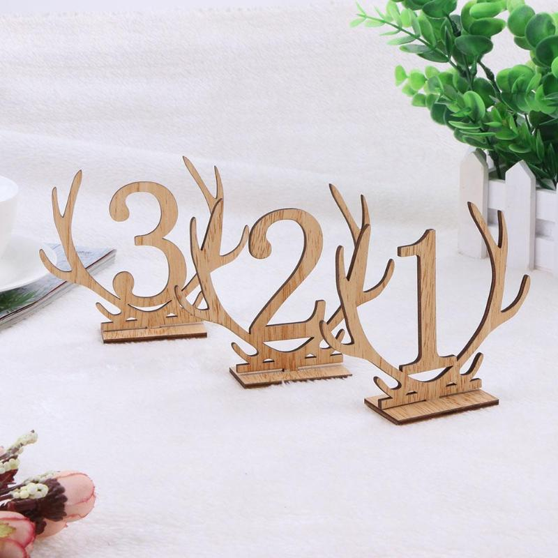 20Pcs/lot 1-20 Numbers Wooden Sign Holder Table Number for Wedding Party Seat Decoration Rustic Wedding Supplies