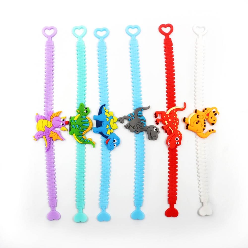 2019 Hot  6 Pcs Dinosaur Bracelet Rubber Ornaments Party Decorations Supplies Bracelet Adjustment Wristband