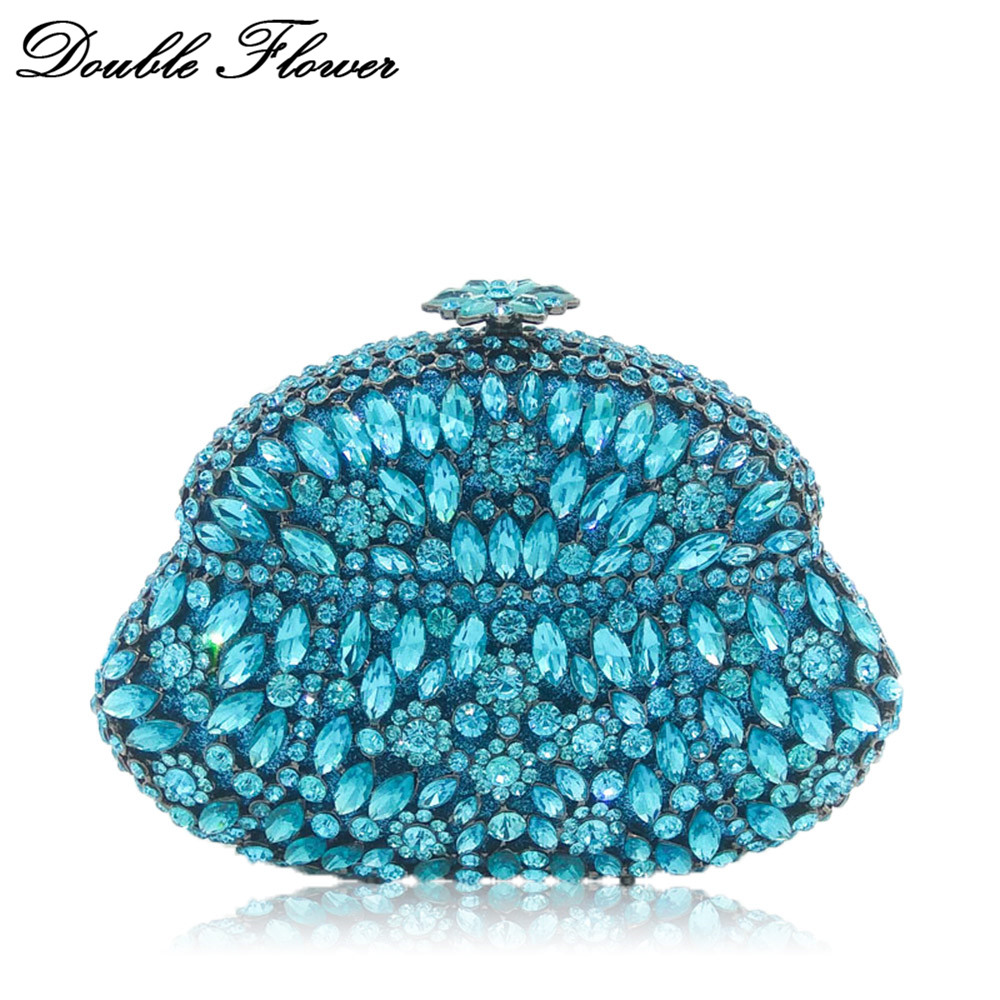 Double Flower Hollow Out Wine Pot Turquoise Women Crystal Clutch Evening Bags Metal Hard Case Bridal Diamond Minaudiere Handbag charming faux turquoise round hollow out cuff bracelet for women