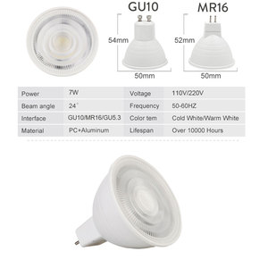 Image 4 - 10 개/몫 LED 전구 스포트 라이트 Dimmable GU10 MR16 GU5.3 110 V 220 V COB 칩 빔 각도 30도 스포트 라이트 테이블 램프