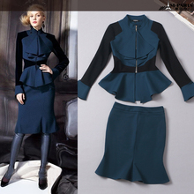 Fashion 2016 Autumn Women's Bodycon 2 Pieces Set Long Sleeve Blouse+Slim Skirt Work Wear Suit Formal Elegant Twin Set