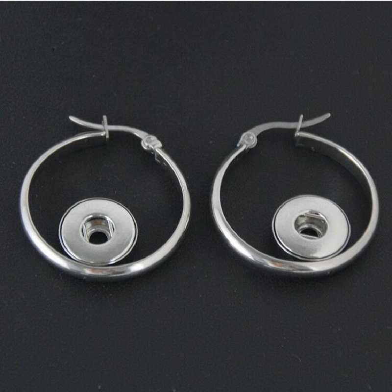 Stainless Steel Round 12mm Snap Button Earrings Jewelry Fit 12mm Snap Button Charms 5Pairs image