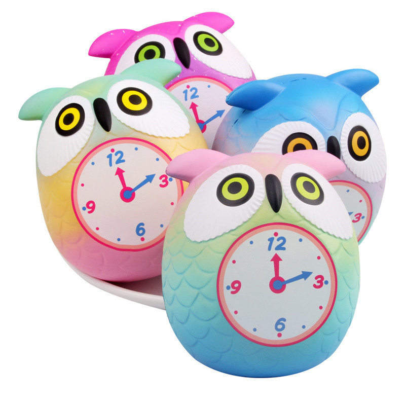 CuteSqueeze Cute Owl Clock Slow Rising Cream Scented Decompression Toys Toy Squish Toys For Kid Child A1