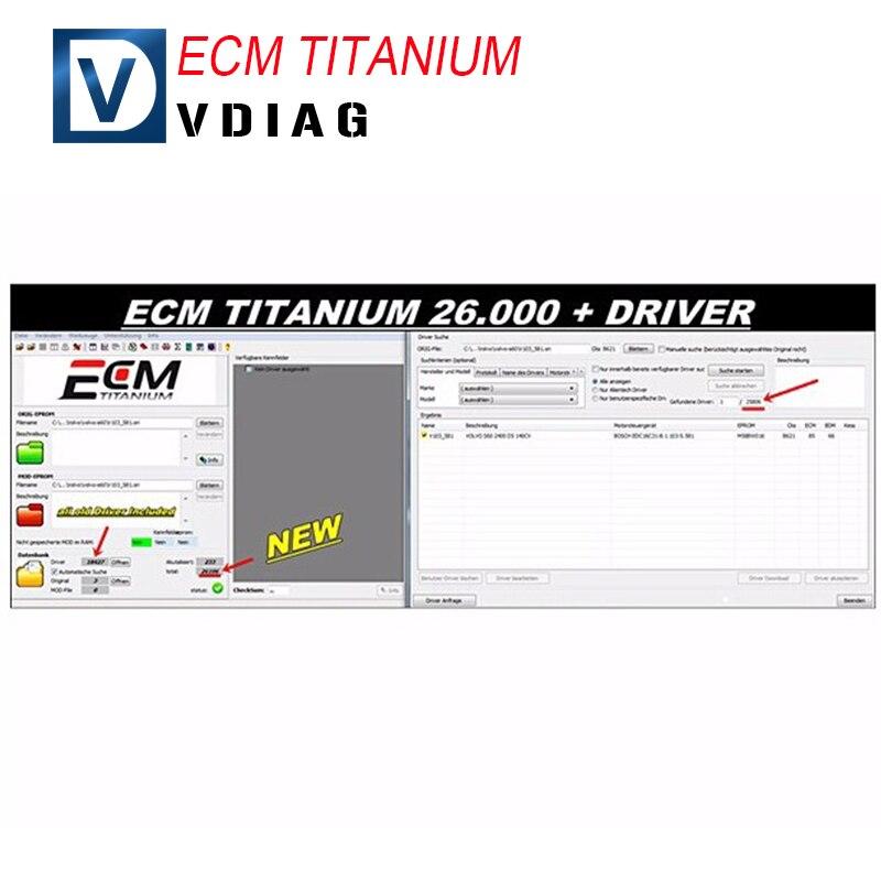 Prix pour 2016 vente Chaude ECM TITANIUM 1.61 avec 26000 + 18384 + Pilote pour KESS V2 et Ktag