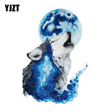 Adesivo de automóveis yjzt 11.3cm * 16.5cm, wolf sob a lua, adesivo de pvc para motocicleta, 11-00475