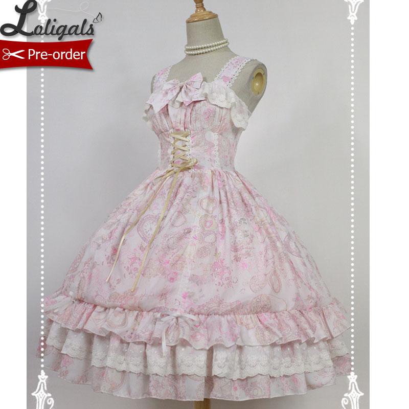 Sweet Floral Printed Chiffon Dress Antique Clock Series Pink Lolita JSK Dress by Soufflesong