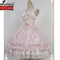 Sweet Floral Printed Chiffon Dress Antique Clock Series Pink Lolita JSK Dress by Soufflesong