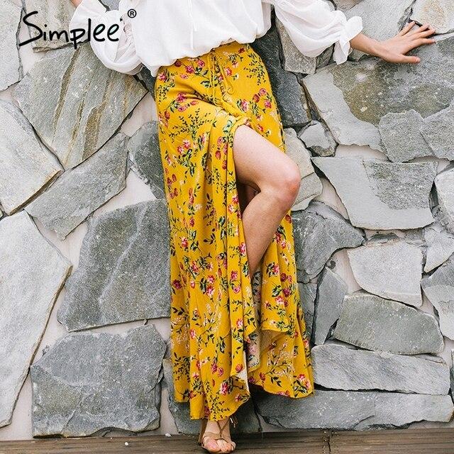 Simplee Boho стиль цветочный печати длинные юбки женские топы 2017 летний пляж макси юбка Эластичный винтаж chic сексуальные юбки женский