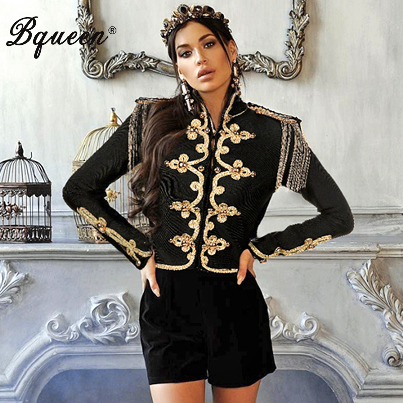 Bqueen 2019 New Women Solid Black Long Sleeve Stand Neck Sexy Slim Tassel Appliques Jacket Fashion