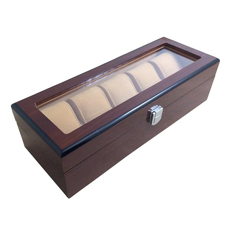 5 grille élégante Durable rouge foncé montre en bois boîte d'affichage montres boîtier fenêtre bijoux stockage titulaire organisateur livraison gratuite