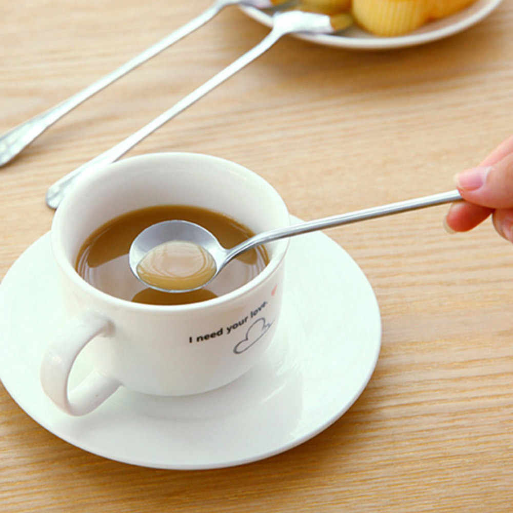 1Pcs Long Handle Stainless Steel Spoons for Tea Coffee Ice Cream Kitchen Tableware Tool Durable New Arrival