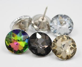 5size 500pcs glass Nail Button 3colors Crystal Diamante Rhinestone Buttons Round Sewing Crystal Sofa Buttons Crafts Home Decor