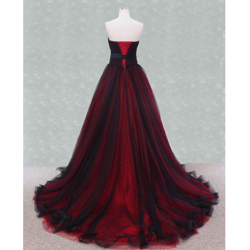 MDBRIDAL Dark Red Black Evening Ball Gowns Strapless Corset Long ...