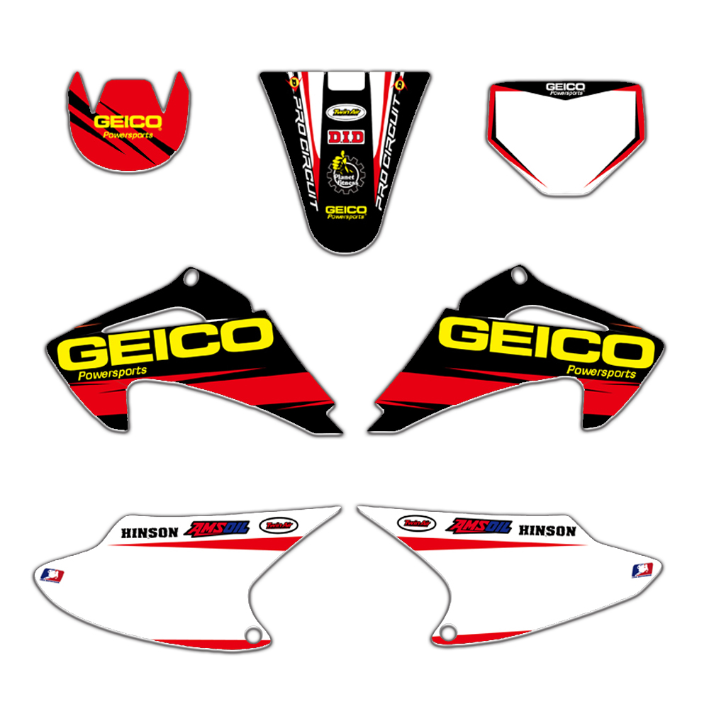 New TEAM GRAPHICS & BACKGROUNDS DECAL <font><b>STICKER</b></font> <font><b>Kit</b></font> for <font><b>HONDA</b></font> CRF150 CRF230 CRF150F CRF230F CRF <font><b>150</b></font> 230 AIR COOLED 2003-2007 image