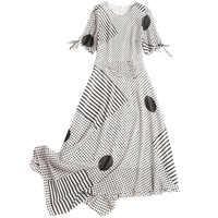 Dot abiti lunghi 2019 nuove donne di estate irregolare diagonale O-Collo Vestito casuale del punto dell'onda di chiffon vestito