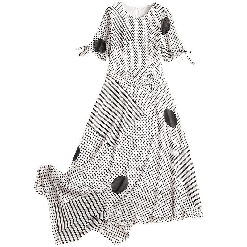 Dot longues robes 2019 nouvel été irrégulière diagonale o-cou tenue décontractée vague point mousseline de soie robe