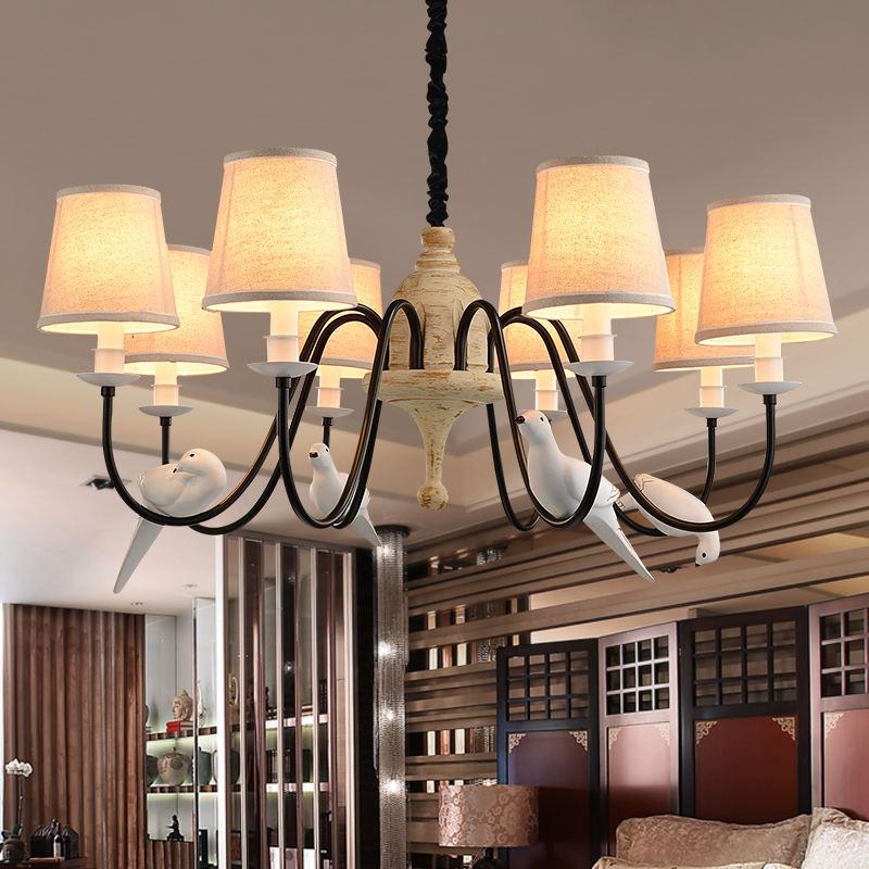Chandelier Lights Modern LED Cloth Shade Lamp Living Room Lustre Chandeliers Lighting Pendant Hanging Ceiling Fixtures