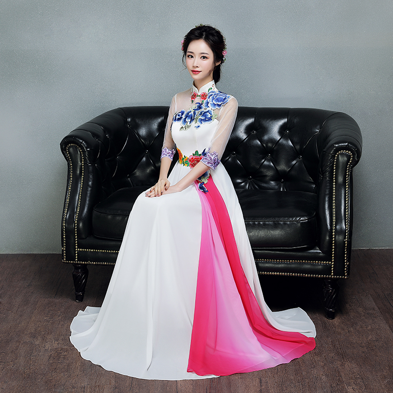 Oversize XXXL Female Appliques Long Qipao Elegant Slim Evening Party Dress Chinese Style Cheongsam Dance Performance Vestidos