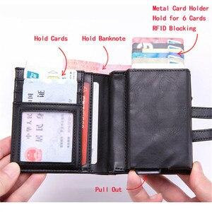 Image 3 - BISI GORO cartera inteligente para hombre y mujer, tarjetero multifuncional de Metal RFID de aluminio con bloqueo para tarjetas de viaje, 2019