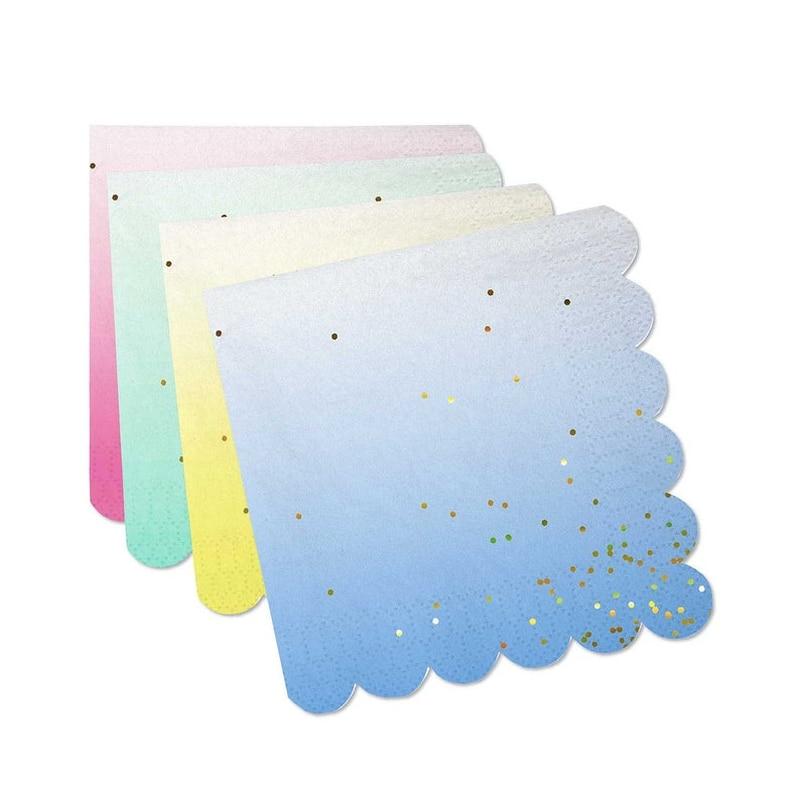 64 Buah 25Cm X 25Cm Unicorn Pastel Ombre Serbet dengan Emas Confetti Mint Kuning Pink Biru 1st Ulang Tahun Pernikahan pesta Baby Shower Dekorasi