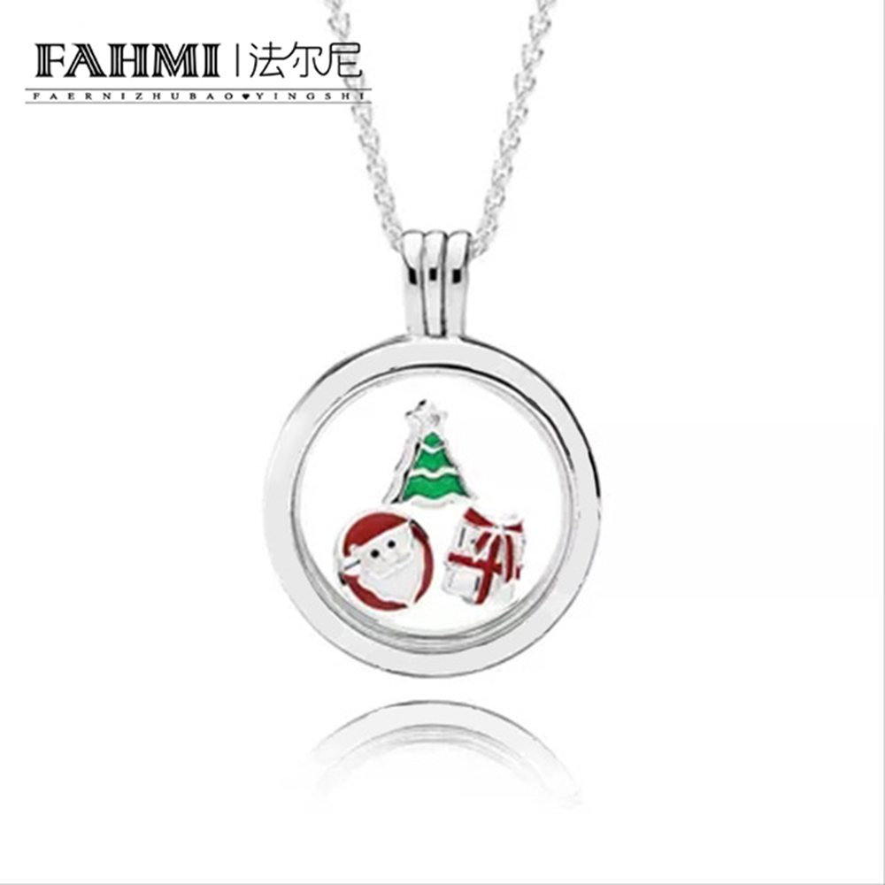 FAHMI 100% 925 Sterling Silver Necklace Small Decoration Rose Santa Christmas Tree Surprise Gift Float Box DIY Clavicle Charm 0