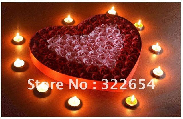 100Pcs Heart Shape Design Rose Flower Soap Romatic Gift
