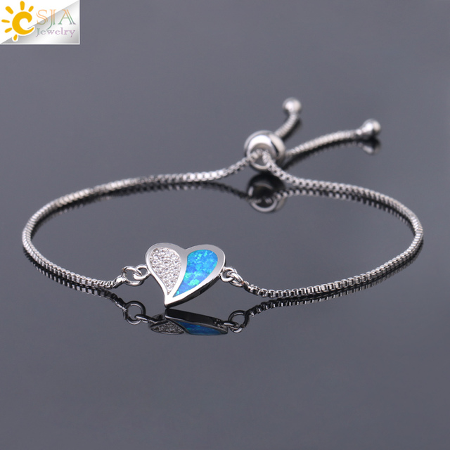 CSJA Heart Shaped Charms Bracelet for Women Lover Girlfriend Thin Link Wrist Chains Size Adjustable Wedding Banquet Jewelry G078