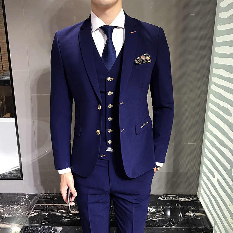 335d788feb LEFT ROM Blue Men s Suits Jackets + Vests + Suit Pants S M L 3XL Fashion  Business Wedding
