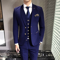 LEFT ROM Blue Men S Suits Jackets Vests Suit Pants S M L 3XL Fashion Business