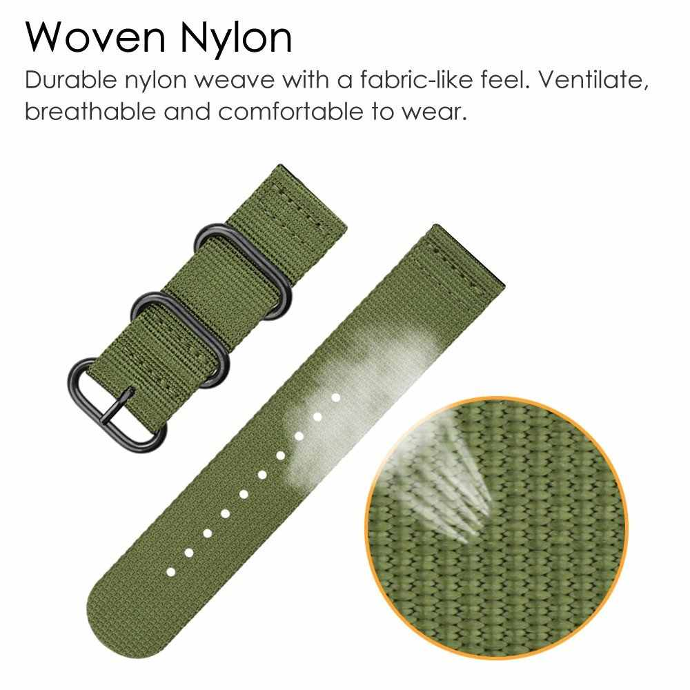Amry Green Sport Nylon Watch Bands For Samsung Gear S3 Frontier S2 Classic General 18mm 24mm Universal Wristwatch Accessories #a