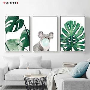 Image 3 - Cartoon Ballon Tiere Poster Druckt Moderne Green Leaf Leinwand Malerei Auf Die Wand Giraffe Koala Nordic Kunst Bilder Home Deco
