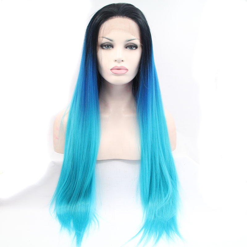 ФОТО fashion long silky straight wig black /blue/green ombre synthetic lace front wigs for women heat reistant fiber long hair