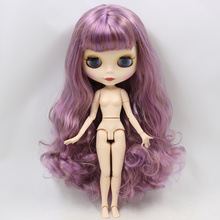 ICY Neo Blythe Doll Purple Brown Hair Jointed Body 30cm