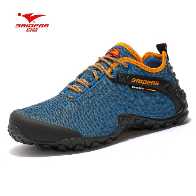 Baideng 2017 new hiking shoes mesh rubber sole men outdoor shoes Breathable soft climbing camping 39-45 size hiking shoes