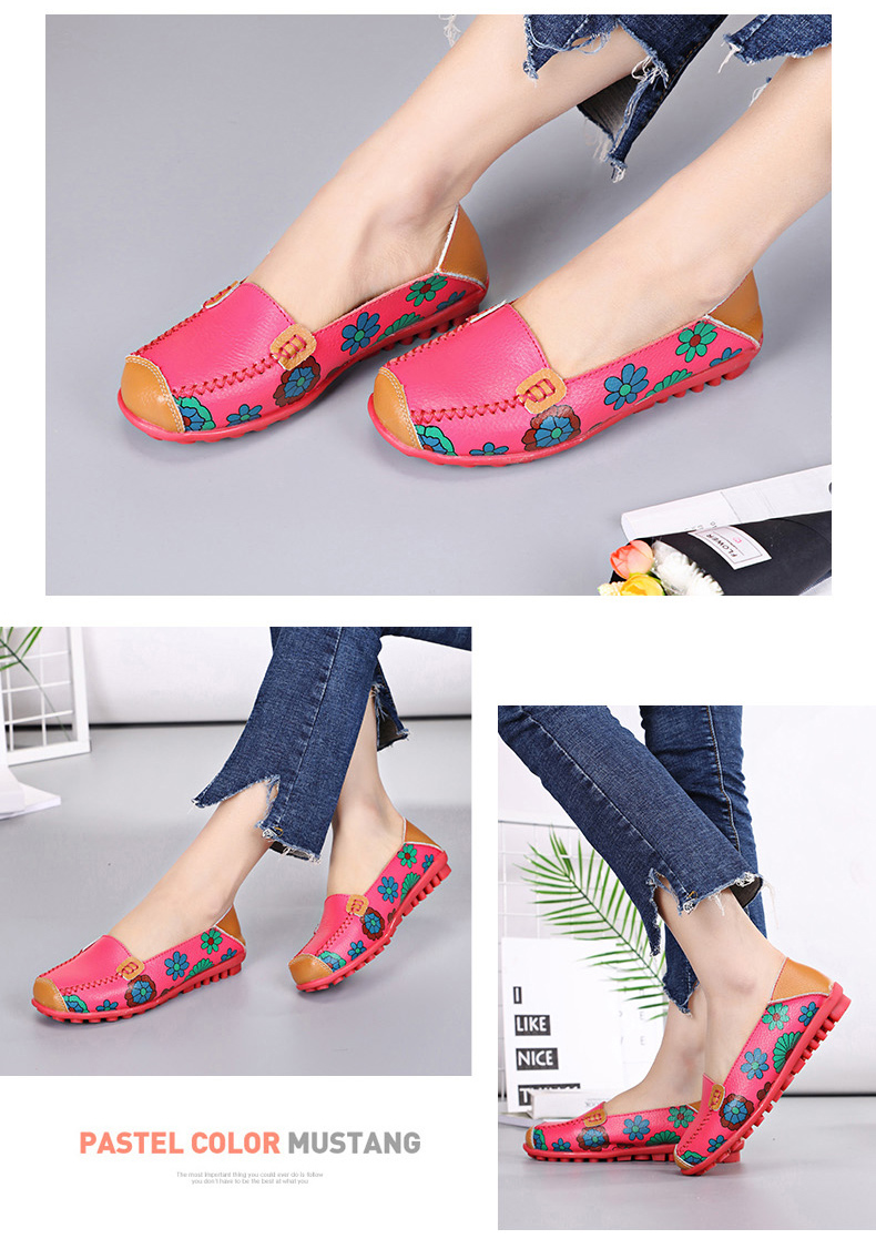 STS BRAND New Spring Women Genuine Leather Ballet Flats Casual Shoes Women Round Toe Slip On Flats Female Loafers Ballerina shoe (14)