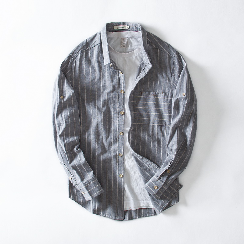 New Brand Long Sleeve Linen Shirt Men Casual Stripes Flax Shirt Mens Fashion Autumn And Spring Shirts Men 4XL Overhemd Chemise