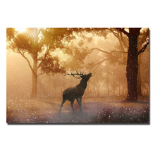 Fallow Deer Autumn Wallpaper Poster Canvas Print Painting Picture For Home Decor(China)