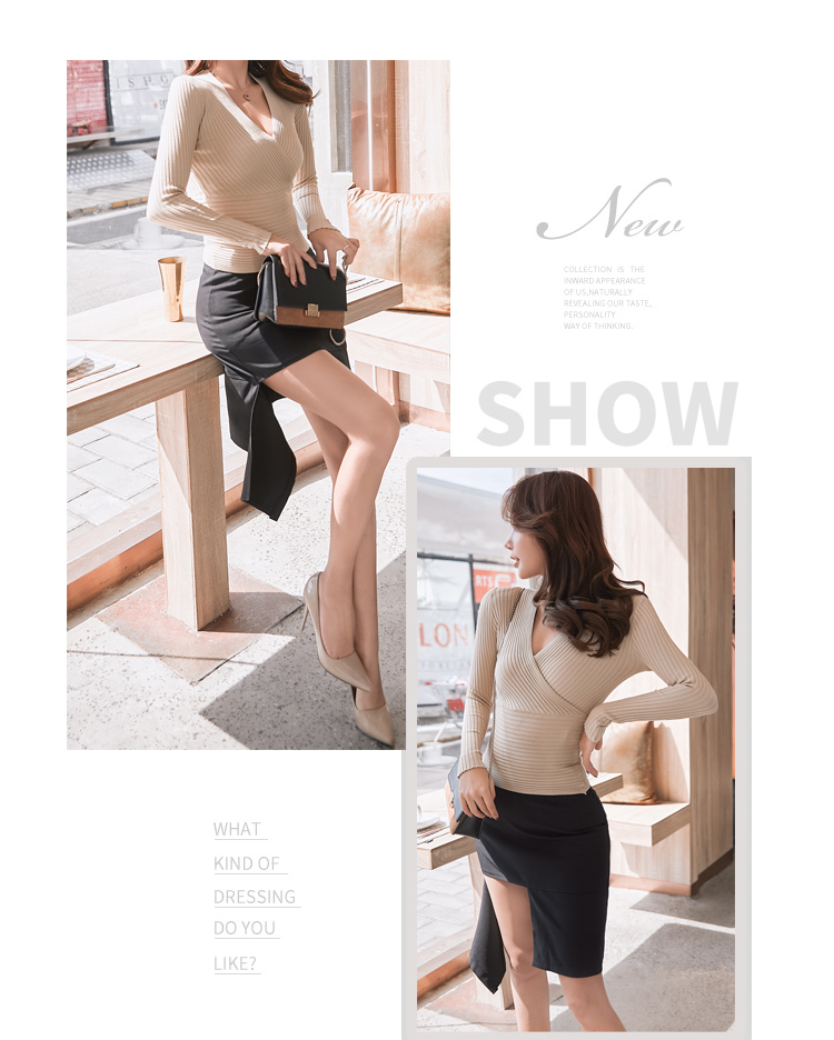 19 New Sexy Deep V Neck Sweater Women's Pullover Casual Slim Bottoming Sweaters Female Elastic Cotton Long Sleeve Tops Femme 14