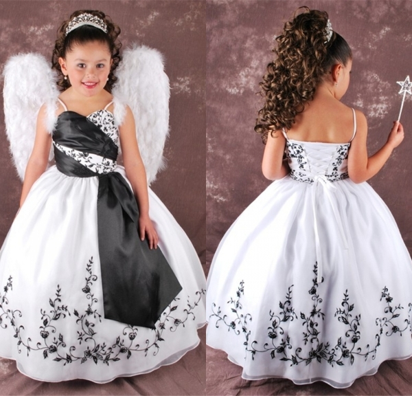 2015 New White and Black Flower Girl Dresses Embroidery Ball Gown ...