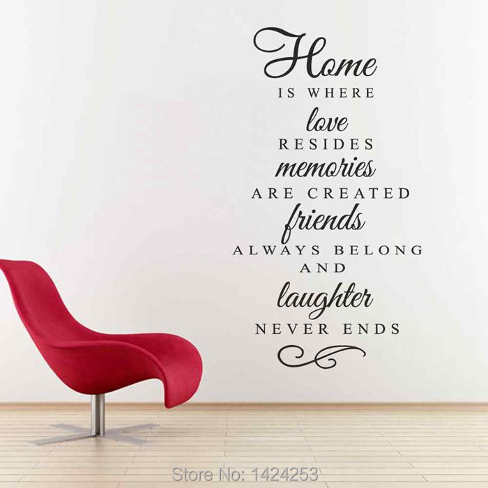 BATTOO Home Wall Decal - Home is where love resides - Families are forever - Family Quote Wall Decal Sticker