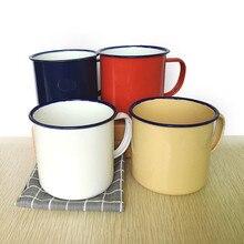 Taza para té y café nostálgico creativa Vintage amante esmalte tazas de café, tazas de té taza de recubrimiento impreso esmalte OA