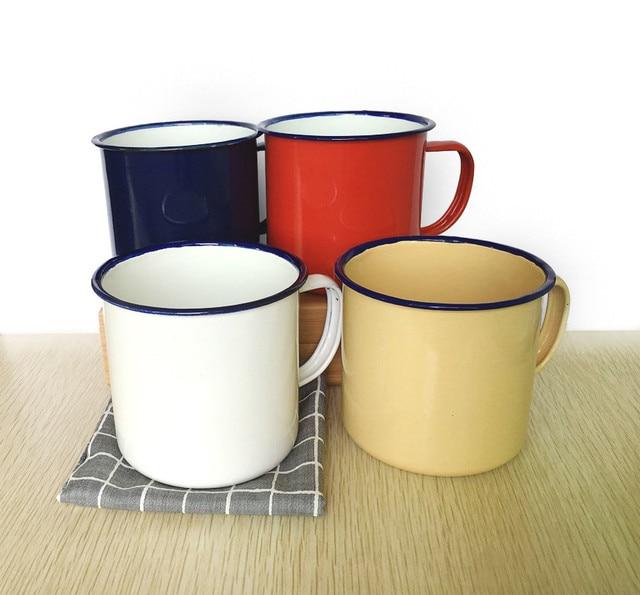 Coffee Tea Cup Nostalgic Creative Vintage Lover Enamel Drinkware Coffee Cups Tea Cup Printed Coating Enamel OA