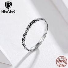 BISAER-anillo sencillo de Plata de Ley 925 para mujer, sortijas Vintage Retro grabadas, joyería de plata de ley ECR513