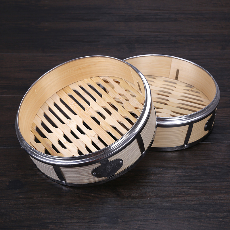 Chinese Kitchen Stainless Steel Bamboo Steamer Lid Cover Dumplings Steamed Stuffed Bun Cantonese Style Tea Restaurant Vuhlwk